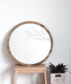 Large round mirror // Cross stitch mirror // by StudioRust on Etsy