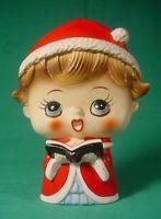 TILSO CHRISTMAS SINGING CAROLER WITH BOOK VINTAGE HAND PAINTED FIGURINE JAPAN