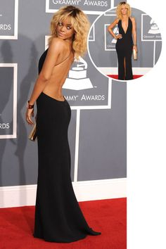 The best red carpet dresses from the back: Rihanna in Armani at the 2012 Grammys.
