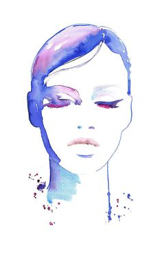 Fashion watercolor illustration print Print by silverridgestudio