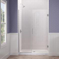 "DreamLine Unidoor Plus 35"" x 72"" Hinged Shower Door Trim Finish: Chrome, Glass Type: Clear Glass"