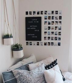 This Minimalist Dorm Room Makeover Is Absolutely Beautiful . Minimalist Dorm Decorating Ideas Along With Compact . 20 College Dorm Room Ideas To Channel Your Inner . Home and Family Cute Room Ideas, Cute Room Decor, Diy Room Ideas, Picture Room Decor, Room Decor Boho, Cheap Room Decor, Photo Wall Decor, Photo Room, Hipster Room Decor