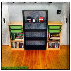 I lined the back of my sons bookcase/shelf with the Minecraft wrapping paper using spray adhesive. Minecraft bedroom, cobblestone wrapping paper, bookcase, shelf, Minecraft decor, spray adhesive