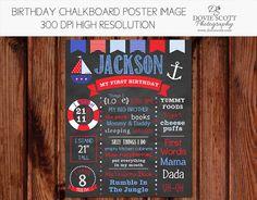 Birthday Chalkboard of Favorite Things Poster -16x20 - First Birthday Chalkboard Sign - Nautical Birthday