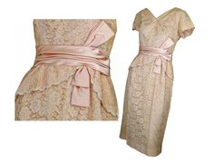 Vintage 50s Wiggle Dress Beige Lace Party by susiesboutiquecloths