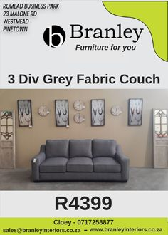 Wholesale furniture in Durban, South Africa. Branley offers quality and affordable leather and fabric couches, lounge suites, armchairs, ottomans and more. Furniture For You, Quality Furniture, Lounge Suites, Sofa, Couch, Wholesale Furniture, Grey Fabric, Ottoman, Armchair