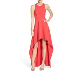 Women's Bcbgmaxazria 'Rosalyn' Cutout High/low Crepe Gown ($338) ❤ liked on Polyvore featuring dresses, gowns, red berry, red cut out dress, cutout gown, side cut out dress, cut out evening dress and crepe gown