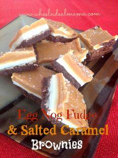 Egg Nog Fudge & Salted Caramel Brownies