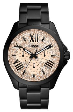 Free shipping and returns on Fossil 'Cecile' Pavé Dial Multifunction Bracelet Watch, 40mm at Nordstrom.com. Pavé crystals shimmer and shine on the multi-function dial of a glamorous bracelet watch finished with a finely notched bezel.