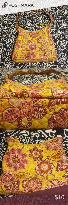 Vintage Vera Bradley Bali Gold print purse Fair, used condition. Some stitching coming loose on bottomw and metal rings need cleaning. Overall good condition. Easy to wash and will look brand new :) Vera Bradley Bags Shoulder Bags