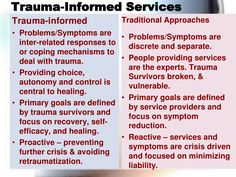 "Trauma Informed Services:  symptom relief is a short-term ""breather"", not a solution."