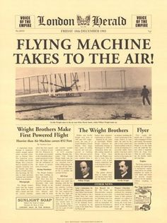 Wright Brothers -first powered flight in 1903, Kitty Hawk, NC …