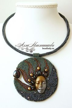Alla Maslennikova, bead artist - Jewellery - bead embroidered necklace with face cabochon