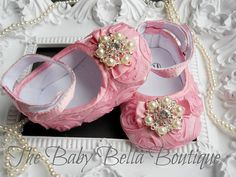 Baby Girl Pink Satin Rosette Crib Shoes by TheBabyBellaBoutique