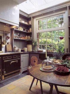 cuisine chene massif, cuisine rustique, plan de travail en chene massif
