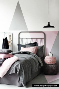 Love the wall treatment! White, pink, and gray