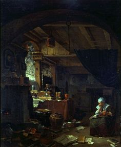 19 августа. Thomas Wijck (circa 1616–1677) 	The Alchemist in His Study with a Woman Making Lace