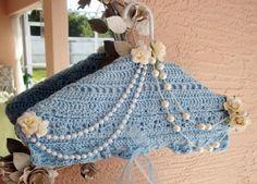 Hanger Clothes Hanger Crocheted Handmade Dress Hanger,shabby, Satin padded chic, Shabby light blue