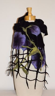 My Purple Flowers Merino wool felted scarf