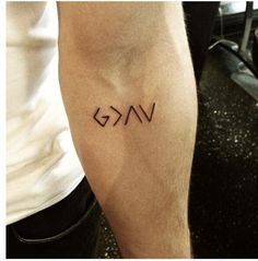 "I like that this tattoo is small, cryptic and meaningful. ""God is greater than the highs and lows"":"