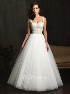 Gown Wide Straps Square Neck Embroidered Beaded Bodice Wedding Dress