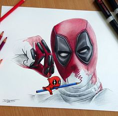 Deadpool drawing by : Marvel Drawing Tips deadpool drawing Marvel Art, Marvel Dc Comics, Marvel Heroes, Marvel Avengers, Marvel Characters, Dead Pool, Deadpool Y Spiderman, Batman, Deadpool Chibi