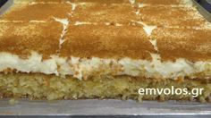 Kalabaka's sweet pastry - TasteDriver by Sissy Nika Greek Sweets, Greek Desserts, Sweets Cake, Cupcake Cakes, Food Network Recipes, Food Processor Recipes, Greek Cake, Hummingbird Cake Recipes, Low Calorie Cake
