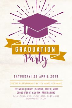 Copy of Graduation Celebration Party Poster Template Graduation Invitation Samples, Graduation Templates, Graduation Logo, Graduation Celebration, Flyer Free, Poster Photography, Party Poster, Graduation Announcements, Party Flyer