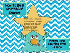 Fun Learning Styles Lesson comes with a mix and match monster game to teach study tips. This packet is designed to provide you with everything needed to help students realize their learning style and learn some study tips specifically for them while having fun.