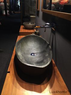 River stone vessel sink bathroom – natural in High quality rock made of natural stone. Manufactured from river stone in Indonesia. Our stone basins are used as hotel sinks, stone Source by Stone Bathroom Sink, Stone Bathtub, River Stones, River Rocks, Stone Basin, Bathroom Shop, Rustic Bathrooms, Bath Design, Amazing Bathrooms