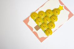 9 yellow vintage buttons set  cardboard by CocoFlowerButtons