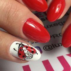 Awesome ladybug nail design made by @_valerija.smirnova_ using LUXE GEL #036_Riviera_luxegel