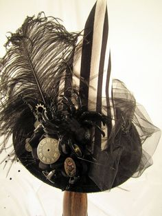 SteamPunk Black Mini Witch Hat with Black & White Stripe crown, black tulle around the brim, measures about 8 across and 8 up and down, big