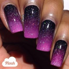 Black to light purple ombre mani with a dash of scattered holo!!!