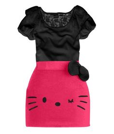 Hello Kitty Bow Dress  Material:Cotton Decoration : Bow Color :WHITE / BLACK