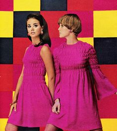 "justseventeen: "" November 1967. ""Shirring does it here, in pink as intense as gypsy joy. A shape to show your waist leaves your arms wide open to compliments, too. A shape with bells on … shirrs high..."