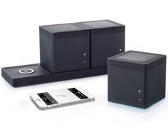 The Three RoomWireless Speaker system from Hammacher Schlemmer makes this simple. It has three cube shaped speakers you can pick up and move anywhere.