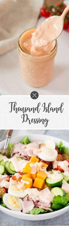 This creamy, sweet and tangy Thousand Island dressing is quick and easy to make and perfect for dressing salads or serving it as a dip. Best Salad Recipes, Salad Dressing Recipes, Sauce Recipes, Lunch Recipes, Cooking Recipes, Healthy Recipes, Chickpea Recipes, Salad Dressings, Easy Recipes
