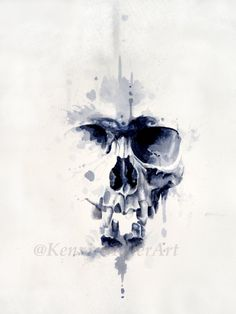 Tache d'encre ORIGINAL Skull Art bloc par KenzieMillerArt sur Etsy