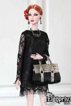 "ELENPRIV Piton/black bag for Fashion royalty Barbie Poppy Parker BJD 12"" Momoko by elenpriv on Etsy"