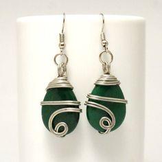 Silver Wire Wrapped Emerald Dangle Earrings, Tear Drop Emerald Earrings by BeyhanAkman on Etsy Unique Earrings, Stone Earrings, Silver Earrings, Dangle Earrings, Emerald Green Earrings, Handmade Jewelry, Unique Jewelry, Wire Wrapped Bracelet, Matching Necklaces