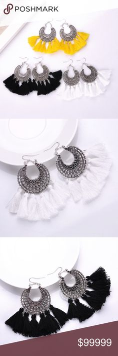 COMING SOON: Bohemian Retro Long Tassel Earrings Like for arrival and discount shipping notification!!  Bohemian Retro Long Tassel Drop Earrings Antique Silver Color  Available in : - White - Yellow  - Black golden threads Jewelry Earrings