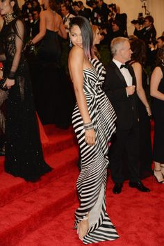 Best- This look is actually really stunning! The stripes are the right style and width. Love the dress itself too.