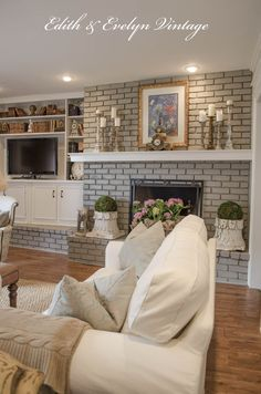 Beautiful French country fireplace renovation. Whole living room.
