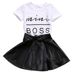 Leather Skirt Outfit Audacious Kids Baby Girl Short Sleeve Mini Boss T-shirt Tops Baby & Toddler Clothing