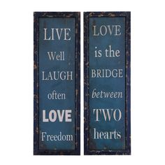 "Live and Love 2-piece framed art set. ""Live well, Laugh often, Love freedom"" - ""Love is the bridge between two hearts"" - These would be a nice wedding or housewarming gift."