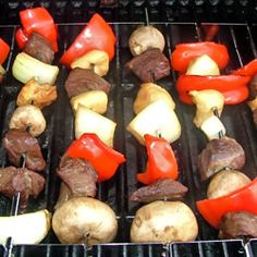 Grilled steak and chicken that doesn't dry out on the grill, but stays moist and flavorful. These kabobs are simple to make, and delicious to eat. Skewered meat with peppers, onions, and mushrooms in a honey teriyaki sauce.