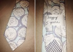 Creative Anniversary Gift Ideas - custom tie with wood grain print - by @Audrey King of French Knot Studios