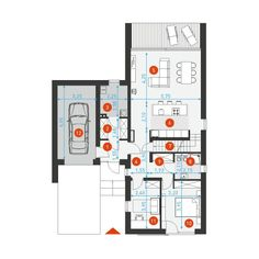 DOM.PL™ - Projekt domu DZW Z POMYSŁEM 2 CE - DOM DW2-02 - gotowy koszt budowy House Plans, Floor Plans, Diagram, House Design, How To Plan, Architecture, Projects, Design Ideas, Mini