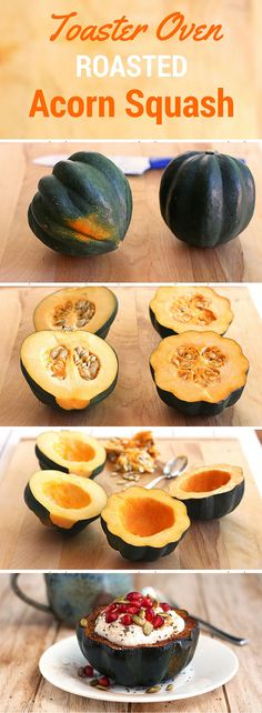 Toaster Oven Roasted Acorn Squash Bowls filled with yogurt. A high fiber, high protein and vitamin rich fall breakfast.